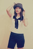 black YouLxmultiplycom shorts - white ribbon-detail YouLxmultiplycom top - black