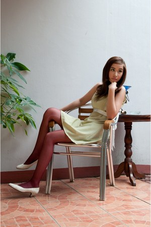 lime green vintage dress - magenta Sock and Sole stockings