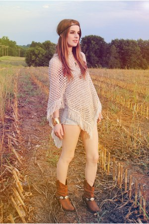 nude poncho Forever 21 top - light brown boots