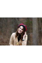 ruby red scottish tartan hat - beige embroidered Forever 21 coat