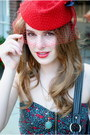 Ruby-red-vintage-hat-ruby-red-urban-outfitters-shirt-black-diamond-pattern-t