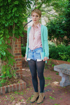 light pink Forever 21 shirt - aquamarine JCrew Factory cardigan