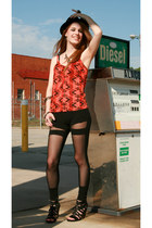 black mesh cut out Urban Outfitters leggings - burnt orange Urban Outfitters shi