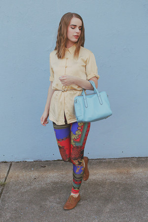 blue Nasty Gal leggings - sky blue leather Fossil bag - light brown Aldo flats