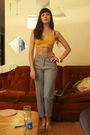 Gray-jeans-gold-jones-ny-bra-orange-dollar-store-bracelet-white-fishermans