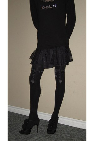 Bebe shirt - with design H and M stockings - Ardene skirt - le chateau heels
