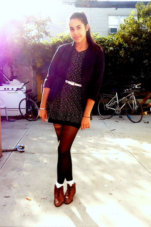 black Mandee blazer - black dress - brown shoes - white American Apparel belt