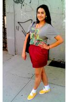 silver Forever 21 skirt - red American Apparel skirt - gold Urban Outfitters sho