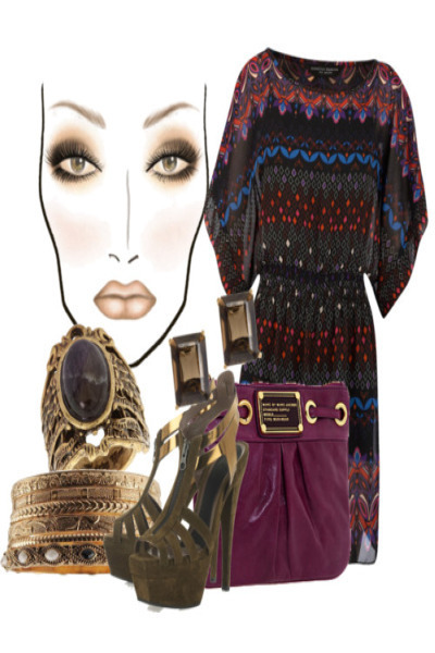 Brown Fashion Ring on Purple Dorothy Perkins Dresses  Brown Marni Shoes  Purple Marc By Marc