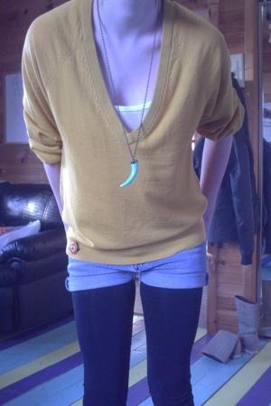 joe fresh style sweater - Smart Set - thrift shorts - winners tights - zellers s
