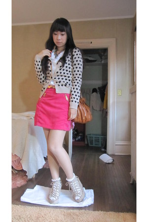 ivory H&M wedges - tawny Landmee bag - hot pink shocking pink H&M skirt