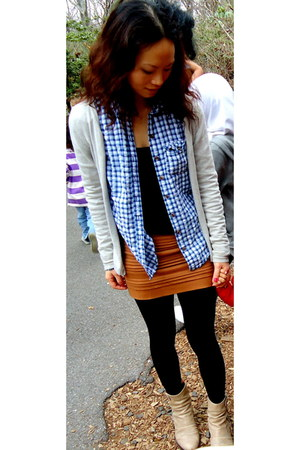 heather gray The Limited sweater - blue abercrombie and fitch shirt