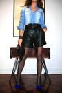 Zara-shirt-mango-bag-kookai-shorts-yogoego-heels