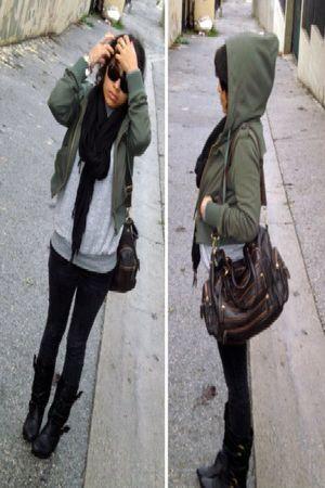 black aunts scarf - gray Vans sweater - black gap jeans - black boots shoes