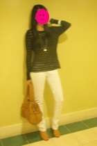 banana republic top - Topshop jeans - purse - shoes - bra