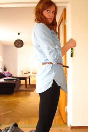 blue Primark shirt - brown Primark belt - black Primark tights - lindex