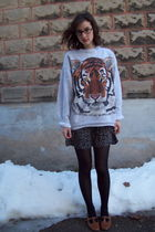 silver thrifted sweater - black thrifted dress - black gift tights - brown thrif