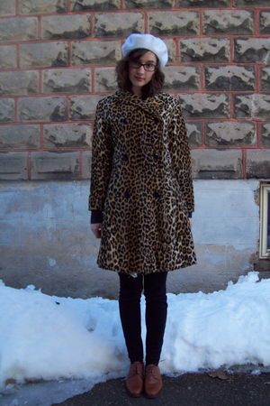 white gift hat - gold vintage coat - black Rag and Bone pants - brown coach shoe