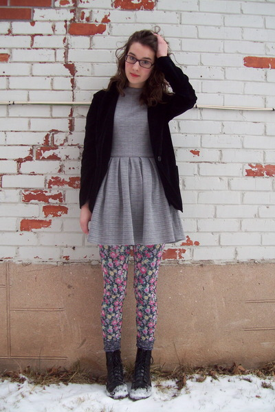 Talulah dress - Dr Martens boots - norwegian wood leggings - thrifted blazer