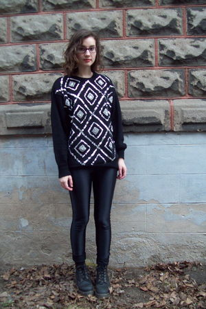 black thrifted sweater - black American Apparel pants - black Dr Martens boots