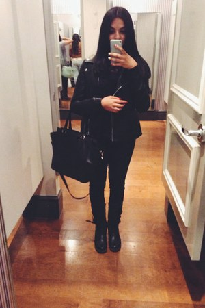 black easy pickins shoes - black Forever 21 jacket - black H&M bag