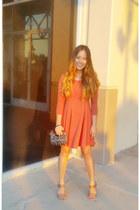 coral skater Forever 21 dress - crimson signature cloth coach purse