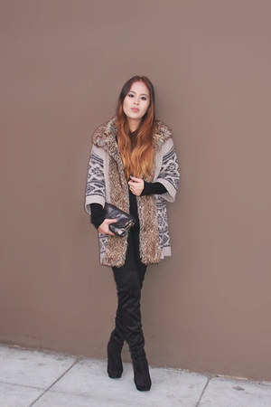 wild diva boots - asos cardigan - H&M blouse