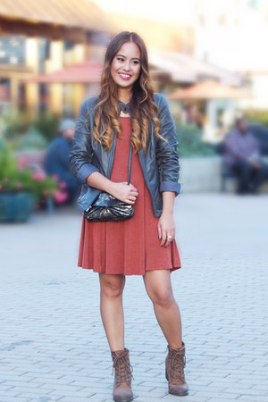 ankle boots Madden Girl boots - skater Boohoo dress - leather Express jacket