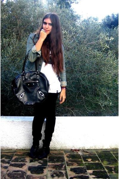 blue jeans Zara jacket - black oxford tomeu shoes - white p&b boy t-shirt