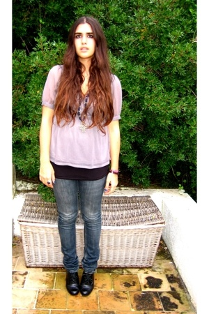 H&M blouse - Zara top - tomeu shoes - Zara jeans - vintage accessories - vintage