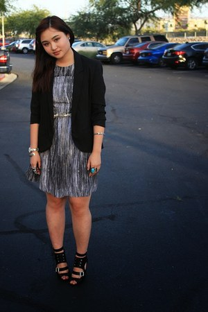 silver tone H&M ring - black Target dress - black black Forever 21 blazer