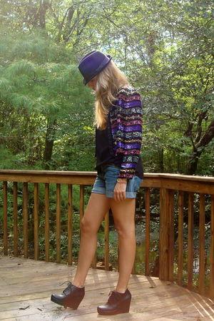 black vintage 80s blazer - black Target top - blue H&M shorts - black Forever 21