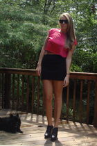 red vintage top - black American Apparel skirt - black Forever 21 shoes - black