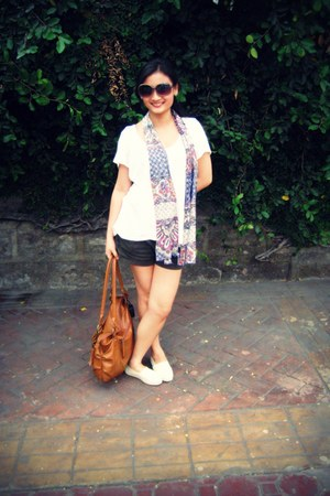 TOMS shoes - Promod scarf - Accessorize bag - shorts Forever 21 shorts - Forever