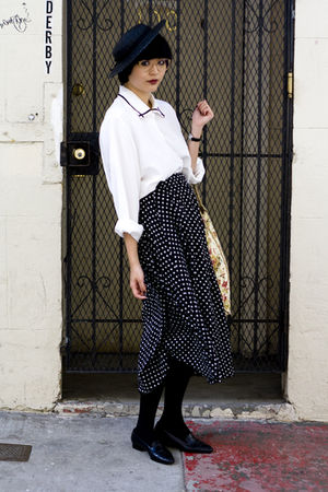 polka dot skirt - piped shirt - striped Zara shorts - pleated H&M pants