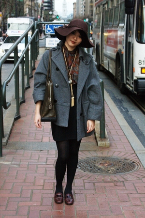 gray Mango coat - vintage bag Prada