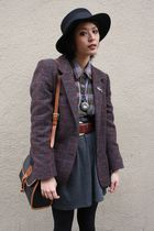 tweed Urban Outfitters blazer - felt Deena & Ozzy hat - plaid Goodwill shirt