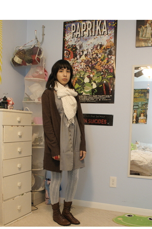 brown Target cardigan - brown Urban Outfitters boots - blue Urban Outfitters dre