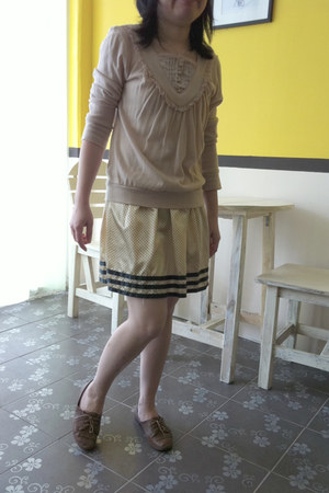 brown Schu shoes - light yellow skirt - light pink bought from tokyo top