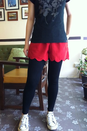 black Forever21 leggings - red cotton shorts - black cotton EDC t-shirt