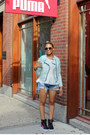 Light-blue-forever-21-jacket-sky-blue-destroyed-jeans-urban-outfitters-shorts