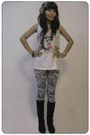 White-mango-top-iconia-leggings-black-bracelet-hand-made-accessories-nec