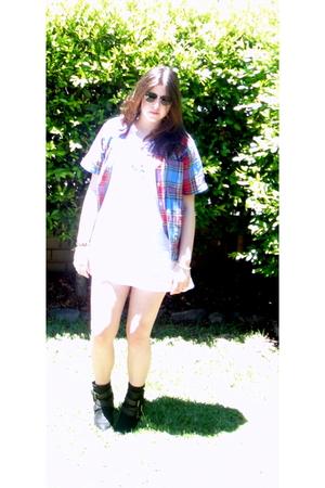 white Wrangler dress - wintage shirt - black Zara boots