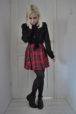 black Primark boots - red Black Milk dress - black TK Maxx shirt