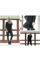 black Ebay boots - black H&M cape - black Black Milk romper