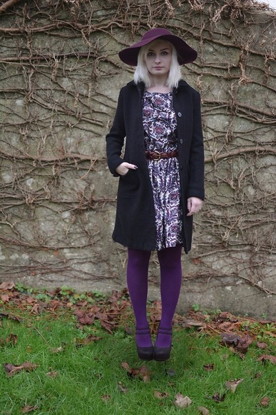 purple Primark dress - black next coat - deep purple Primark hat