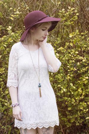 blue Sparkle Motion bracelet - white H&M dress - maroon Primark hat