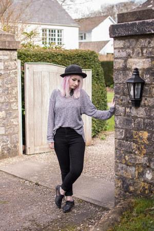 black Primark jeans - black Topshop hat - heather gray H&M jumper