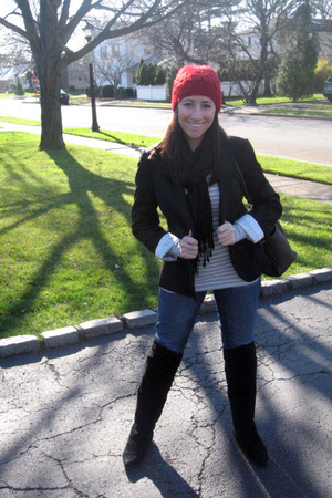 red hat - black blazer - black scarf - silver shirt - black boots