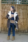 Suede-buckles-deichman-boots-sheep-skin-thrift-store-coat